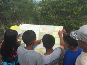 Students reading interpretive sign. July 11, 2015