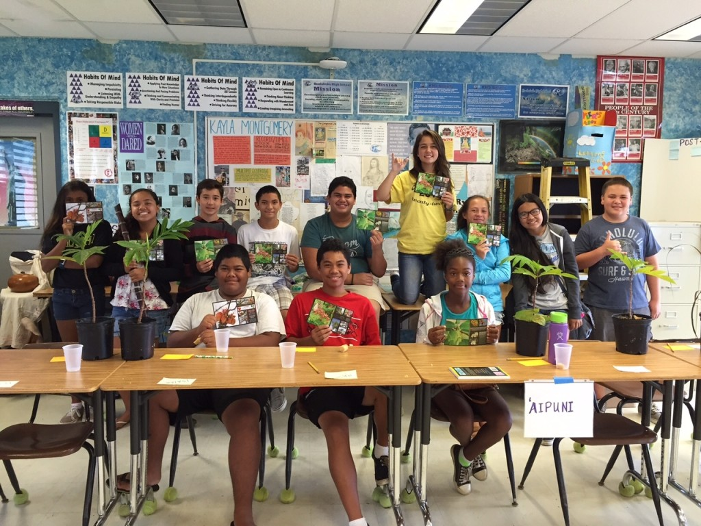 Dryland forest outreach with Freedom Schools at Kealakehe High School 6-15-2015